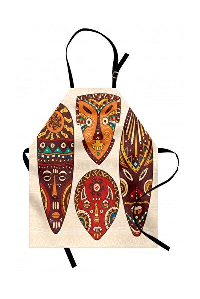 Orange Venue Etnik Mutfak Önlüğü Afrika Maskeleri Rengirenk