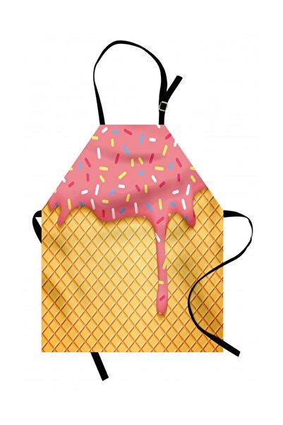 Orange Venue Çocuksu Mutfak Önlüğü Pembe Dondurma Desenli Rengirenk