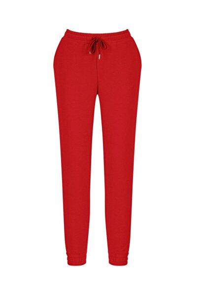 Xint Kadın Kırmızı Pamuklu Rahat Kesim Sweat Pantolon