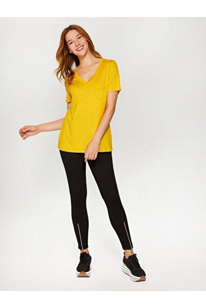 Faik Sönmez Kadın Hardal V Yaka T-shirt 60015