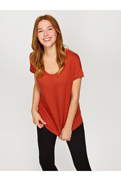 Faik Sönmez Kadın Kiremit Yuvarlak Yaka T-Shirt 60016 U60016