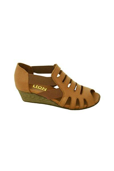 Lion Kadın Taba Lastikli Hakiki Deri Mantar Taban Sandalet