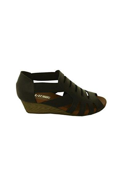 Lion Kadın Siyah Lastikli Hakiki Deri Mantar Taban Sandalet