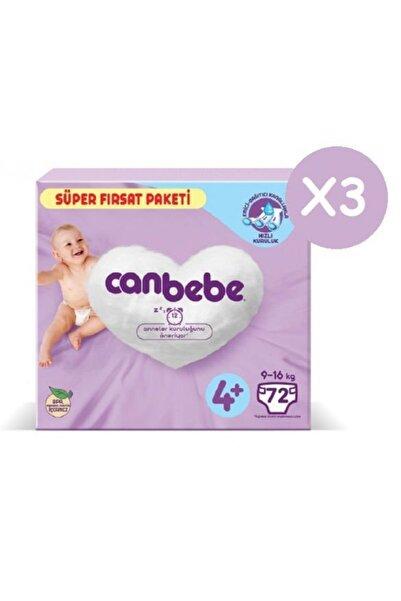 Canbebe Süper Fırsat Paketi Bebek Bezi 4+ Numara 72x3 216 Adet