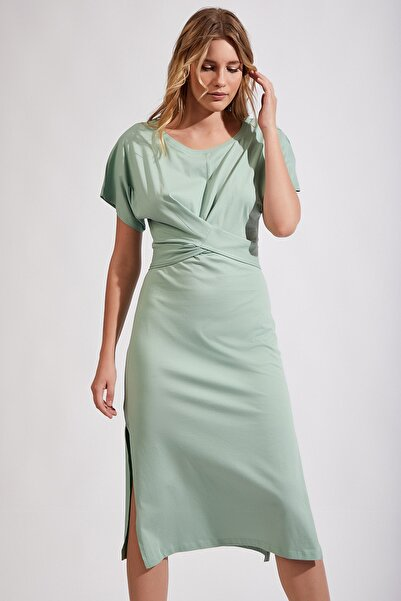 Kadın Çağla Yeşili Yazlık Maxi Örme Elbise Mc00103