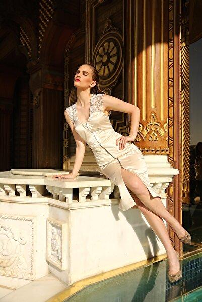 Ece Salıcı Kadın Rengi Saten Dantel Askılı Kalem Elbise