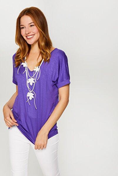 Faik Sönmez Kadın Mor V Yaka T-Shirt 60017 U60017