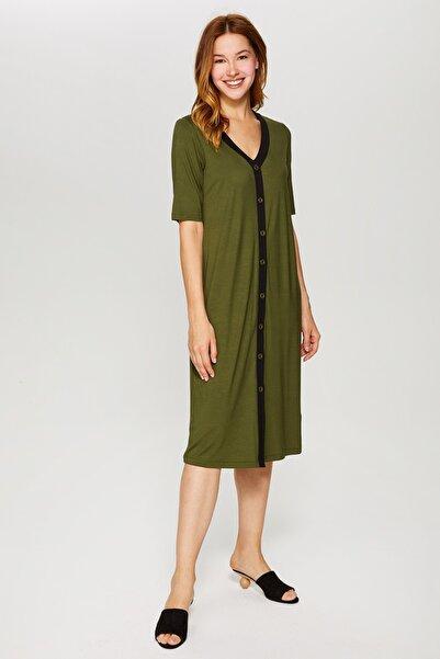 Faik Sönmez Kadın Koyu Haki Kontrast Biyeli Örme Elbise 60257 U60257