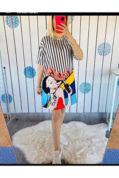 Karaca Yarım Kollu Siyah Beyaz Çizgili Safinaz Baskılı Tunik Elbise