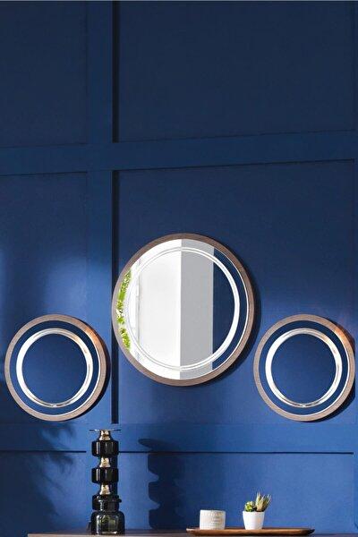 ACELYA Dekoratif Ayna & Duvar Aynası & Konsol Aynası 3'lü Set Ceviz