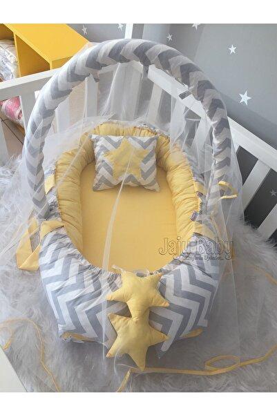 Jaju Baby Gri Zigzaglı Cibinlik Ve Oyuncak Askılı Lüx Tasarım Babynest