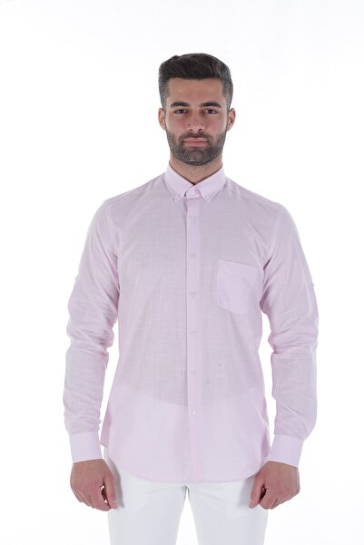 Diandor Uzun Kollu Rahat Kalıp Erkek Gömlek Pembe/Pink 1812013