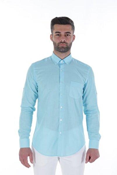Uzun Kollu Rahat Kalıp Erkek Gömlek Turkuaz/Turquoise 1812013