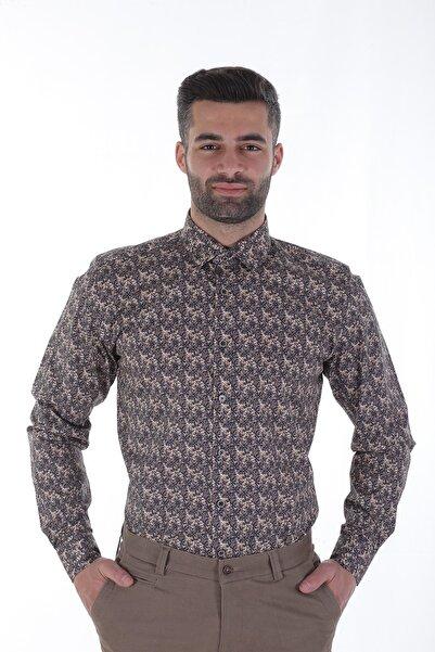 Diandor Uzun Kollu Slim Fit Erkek Gömlek Kahve/Brown 1912037
