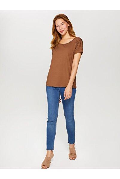 Faik Sönmez Kadın Latte Yuvarlak Yaka Düşük Kollu T-Shirt 60020 U60020