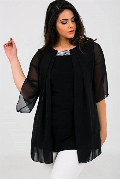 By Saygı Yakası Boncuklu Üstü Şifon Likra Bluz Siyah