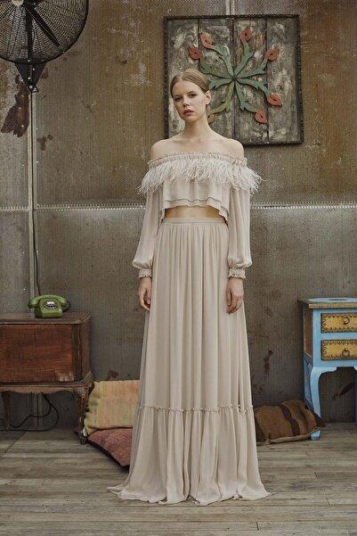 Meltem Özbek Kadın Tüylü Omuz Detaylı Lastikli Bluz