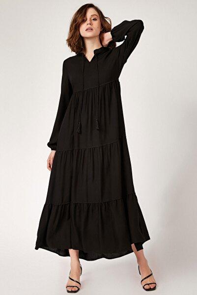Kadın Düz Siyah Yaka Bağcıklı Tesettür Elbise 1627bgd19_281
