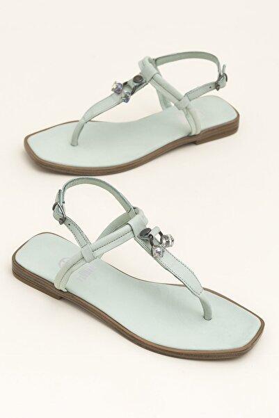 Elle Shoes Hakiki Deri Despına Yeşil Kadın  Sandalet 20YEK3143732
