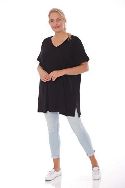 SERTUĞ V Yaka Basic Büyük Beden Siyah Bluz