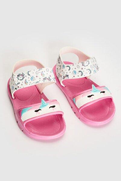 Kız Çocuk Beyaz Baskılı Lu7 Sandalet