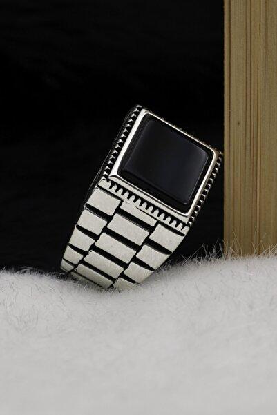 Silva Silver Oniks Taşlı Saat Modeli 925 Ayar Gümüş Erkek Yüzük