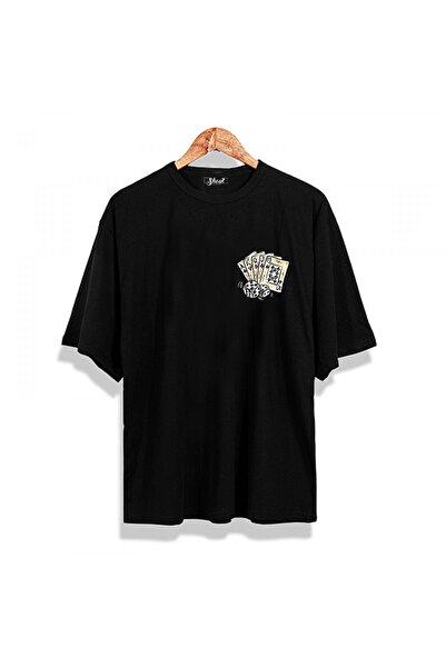 Unisex Siyah Oversize Poker Straight Oldschool T-shirt
