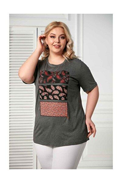 RMG Füme  Desenli Büyük Beden Tshirt