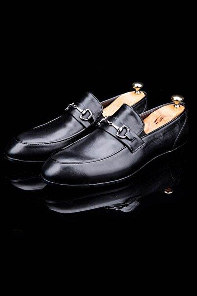 DeepSEA Paolo Massi Siyah Aksesuarlı Deri Ayakkabı 2001817