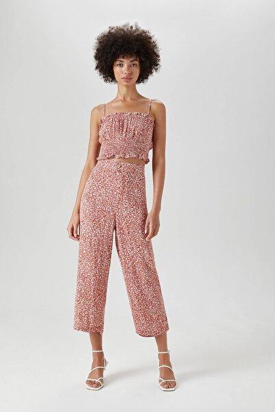 Pull & Bear Kadın Nar Kırmızısı Desenli Loose Fit Culotte Pantolon 05671313
