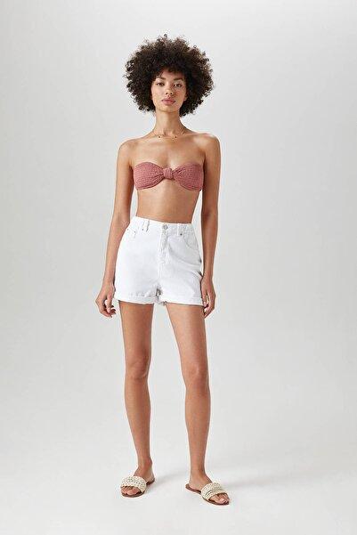 Pull & Bear Kadın Orta Pembe Düğüm Detaylı Dokulu Bandeau Bikini Üstü 05801313