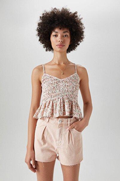 Pull & Bear Kadın Kırmızı Kenarı Fırfırlı Askılı Top 09470307