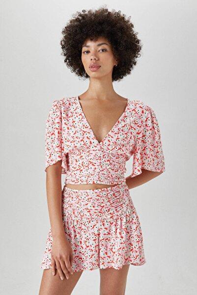 Pull & Bear Kadın Pembe Drapeli Çiçek Desenli Gömlek 05475307