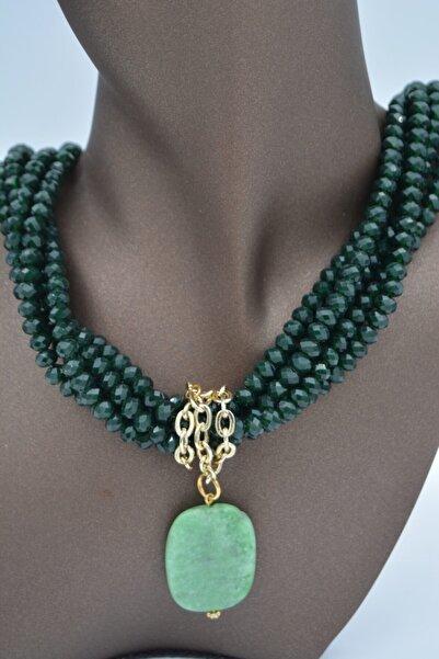 Stoneage Kadın Yeşil Yeşim Taşlı Ve Çek Kristalli Kolye