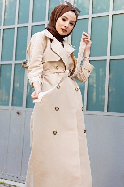 Kadın Taş Rengi Klasik Trençkot