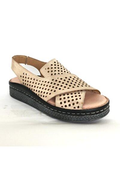 Maje Kadın Pudra Hakiki Deri Ortopedik Comfort Sandalet