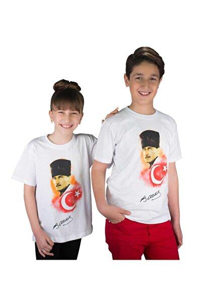 Modakids Beyaz Atatürk Ve Bayrak Baskılı Pamuklu Tişört