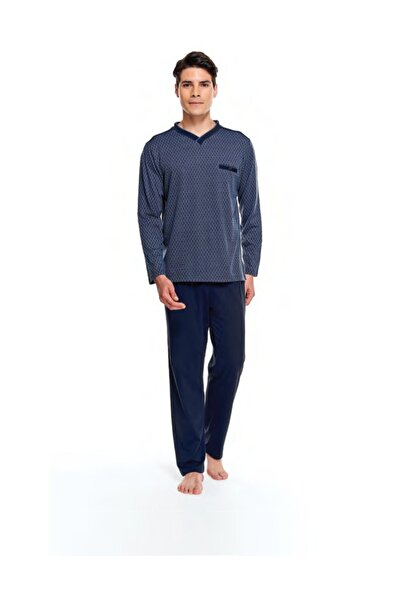 Çift Kaplan 8525 Erkek Uzun Kol Jakarlı V Yaka Pijama Takımı