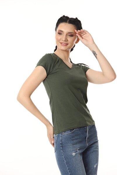 Kadın Yeşil V Yaka T-shirt