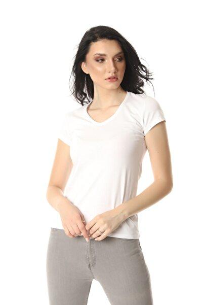 Kadın Beyaz V Yaka T-shirt
