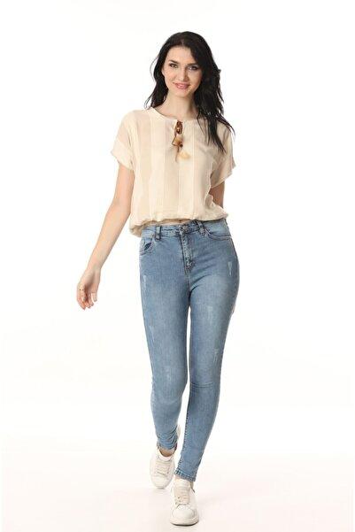 Kadın Bej Bağcık Yaka T-shirt