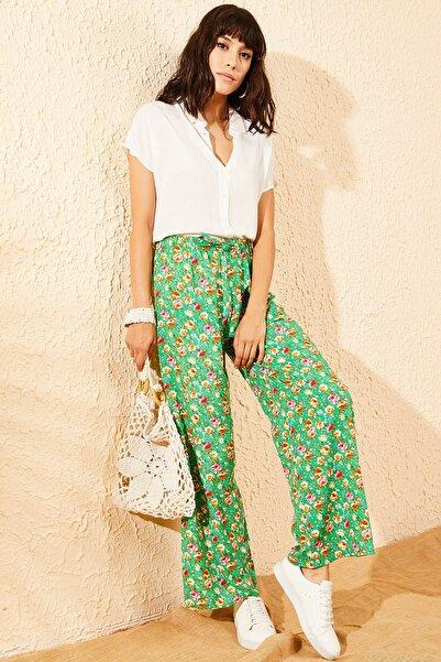 Bianco Lucci Kadın Yeşil Çiçek Desenli Beli Lastikli Bol Paça Pantolon 10081051