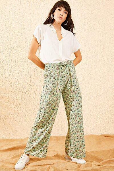 Bianco Lucci Kadın Mint Yeşili Çiçek Desenli Beli Lastikli Bol Paça Pantolon 10081051