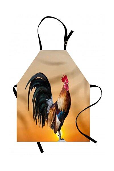 Orange Venue Horoz Mutfak Önlüğü Pembemsi Geçişli Arka Planda Erkek Tavuk Rengirenk