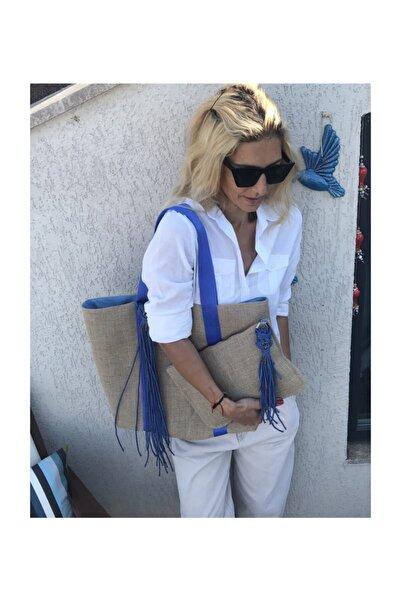 BelieveAtelier Mavi Keten Kadın Çanta Takım