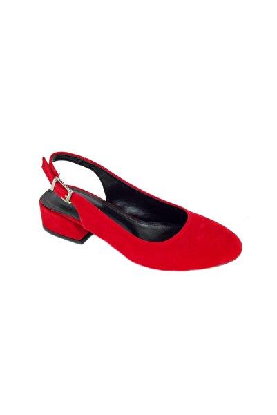 PUNTO Kadın Kırmzı Kalın Topuk Rahat Ayakkabı