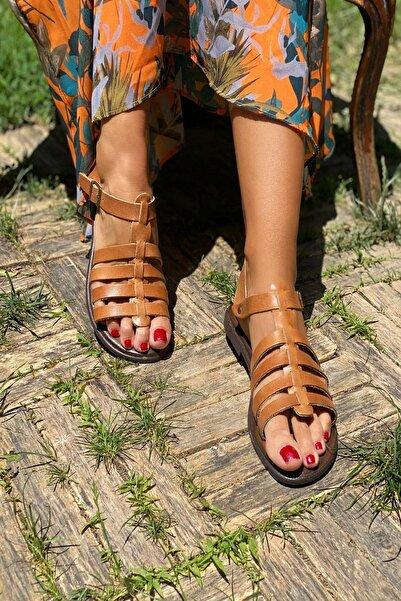 İnan Ayakkabı Taba Kadın Sandalet INA6010SHT