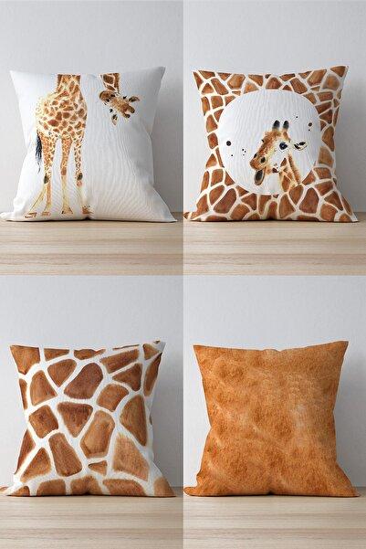Pilloveland Çift Tarafı Baskılı Zürafa Desenli 4'lü Süet Kırlent Kılıfı