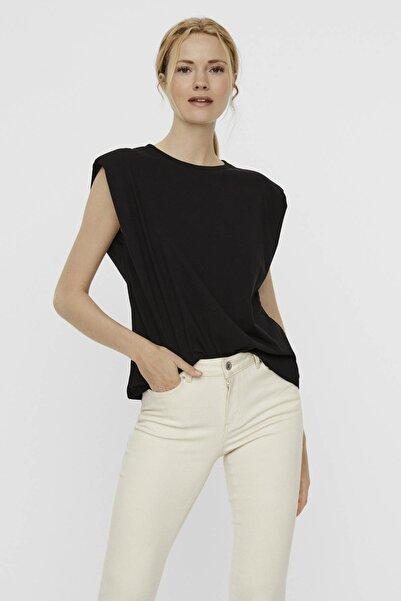 Vero Moda Kadın Siyah Vatkalı Pamuklu T-Shirt 10237808 VMEVELYN