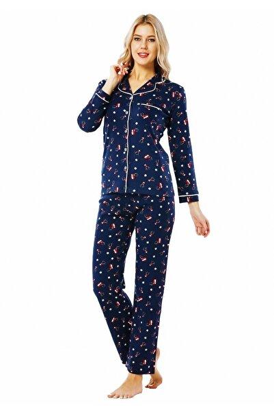 walkie Xmas Geyikli Lacivert Pijama Takımı
